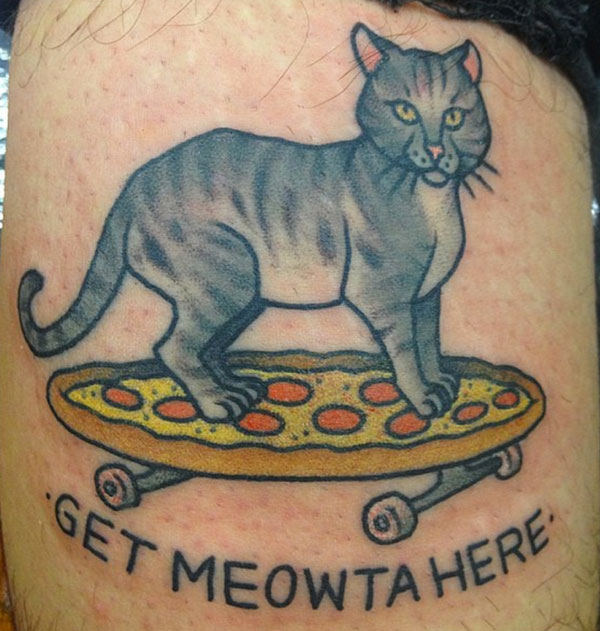 Cat Skating On Pizza Skating Board Tattoo