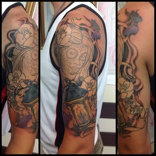 Catrina Girl Face And Rose Lantern Tattoo On Half Sleeve