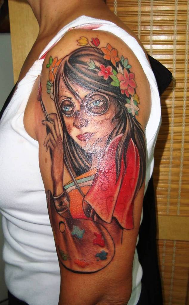 Catrina Painter Tattoo Design On Girl Half Sleeve