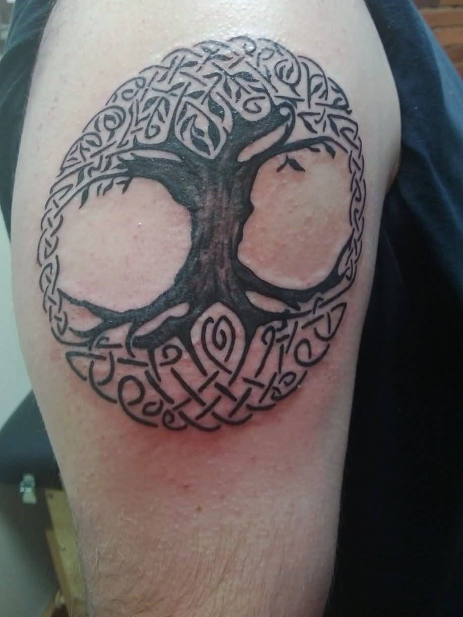 Celtic Black Ink Amazing Pagan Tattoo Of Tree