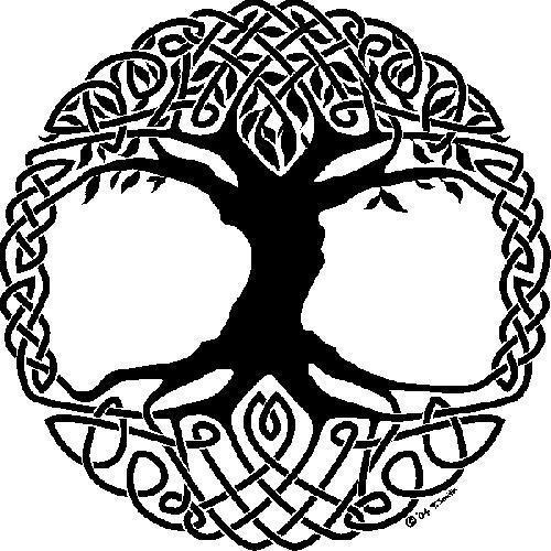 Celtic Knot With Nice Pagan Tree Tattoo Design Stencil