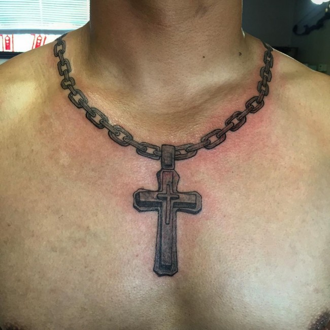 Chain Amazing Cross Necklace Tattoo For Men
