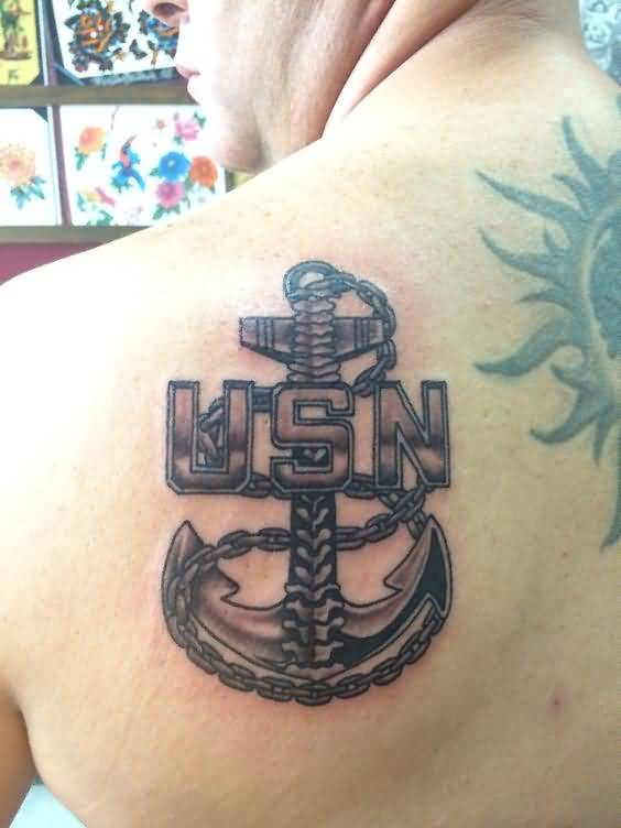 Chain Anchor US Navy Tattoo On Upper Back