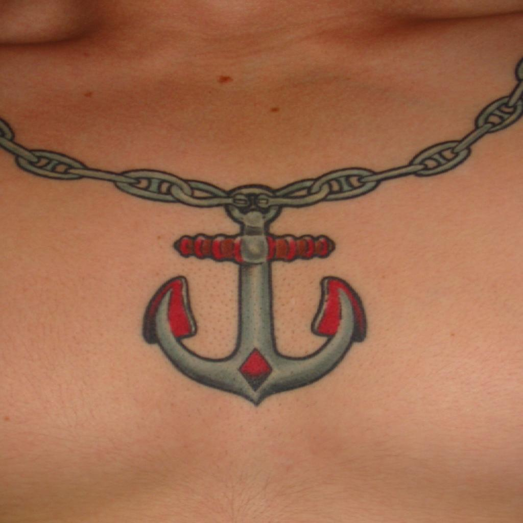 Chain Necklace Anchor Tattoo