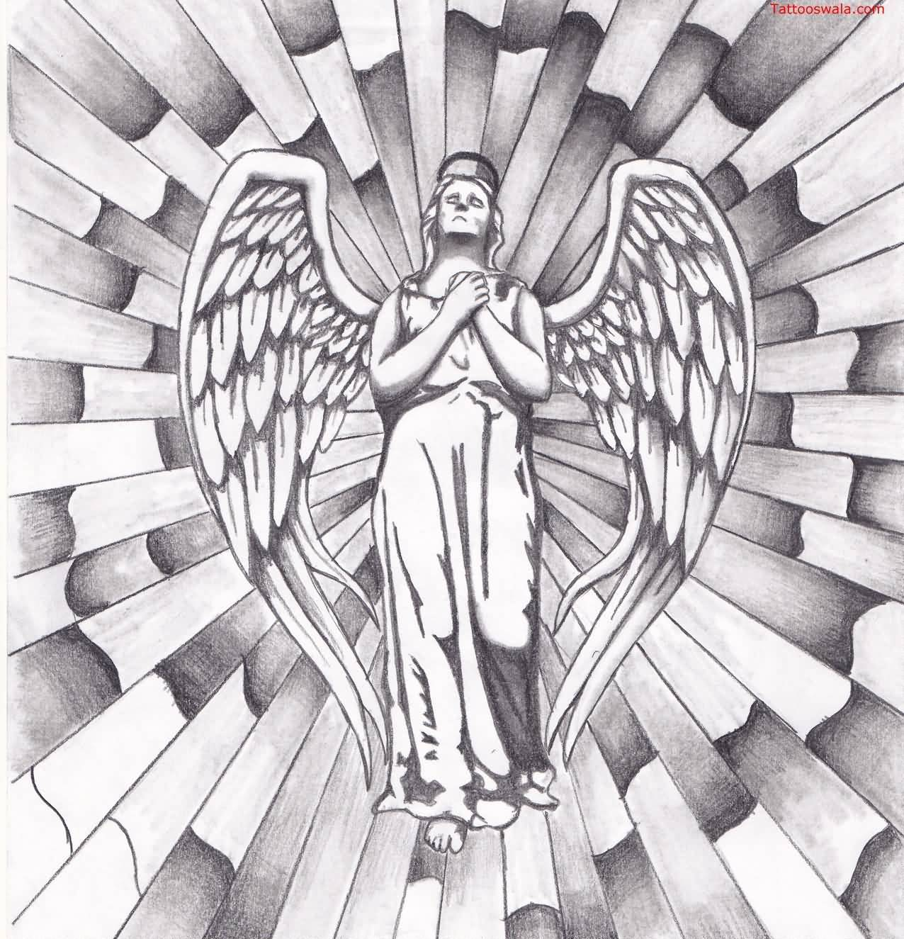 Classy Cool Nice Praying Angel Tattoo Design Idea