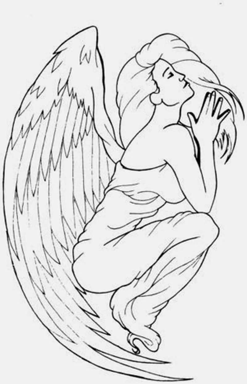 Classy Cool Praying Angel Tattoo Design Idea