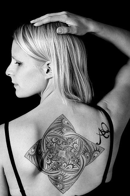 Classy Cool Upper Back Escher Star Tattoo For Girl