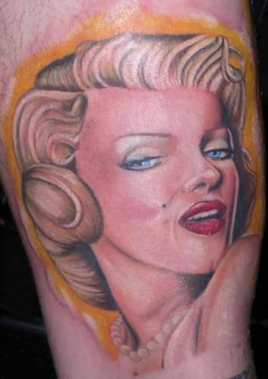 Classy Hot Red Lips Marilyn Monroe Tattoo Of Face
