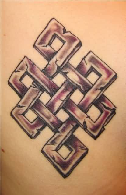 Classy Red Ink Nice Celtic Endless Knot Tattoo