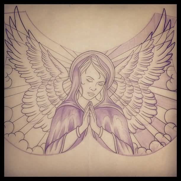 Close Eyes Praying Angel Tattoo Stencil