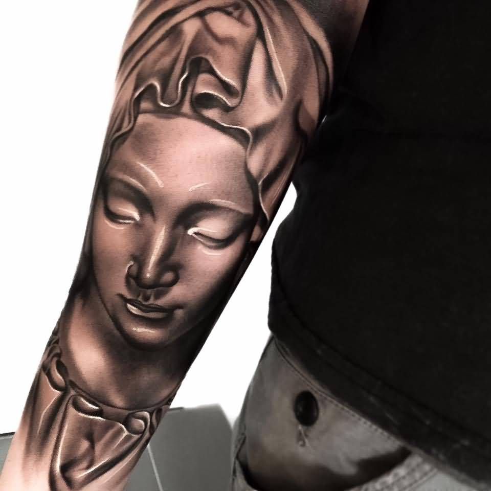 Close Eyes Saint Mary Mother Back Lower Arm Tattoo Design By Levi Barnett