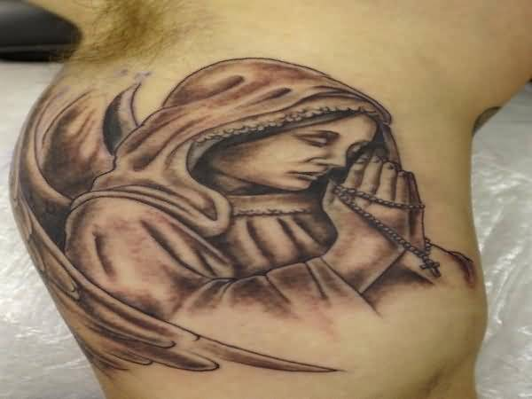 Close Hand Praying Angel Tattoo Design On Bicep