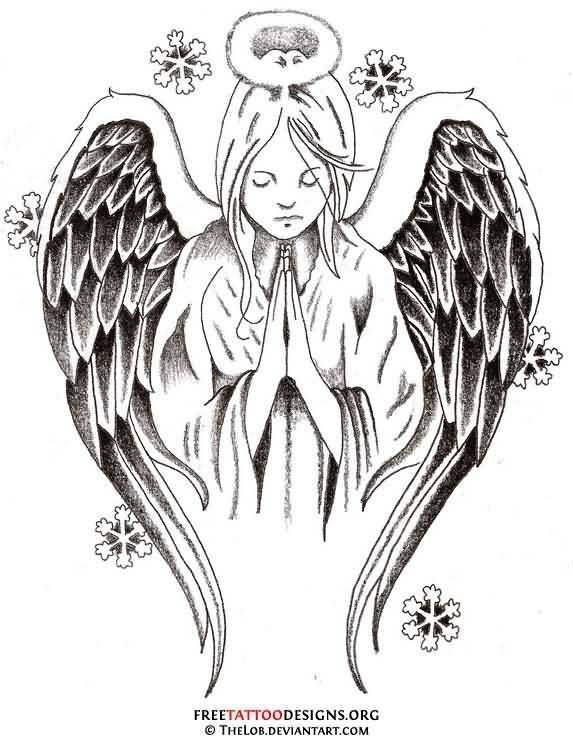 Close Hands Praying Angel Tattoo Design Stencil