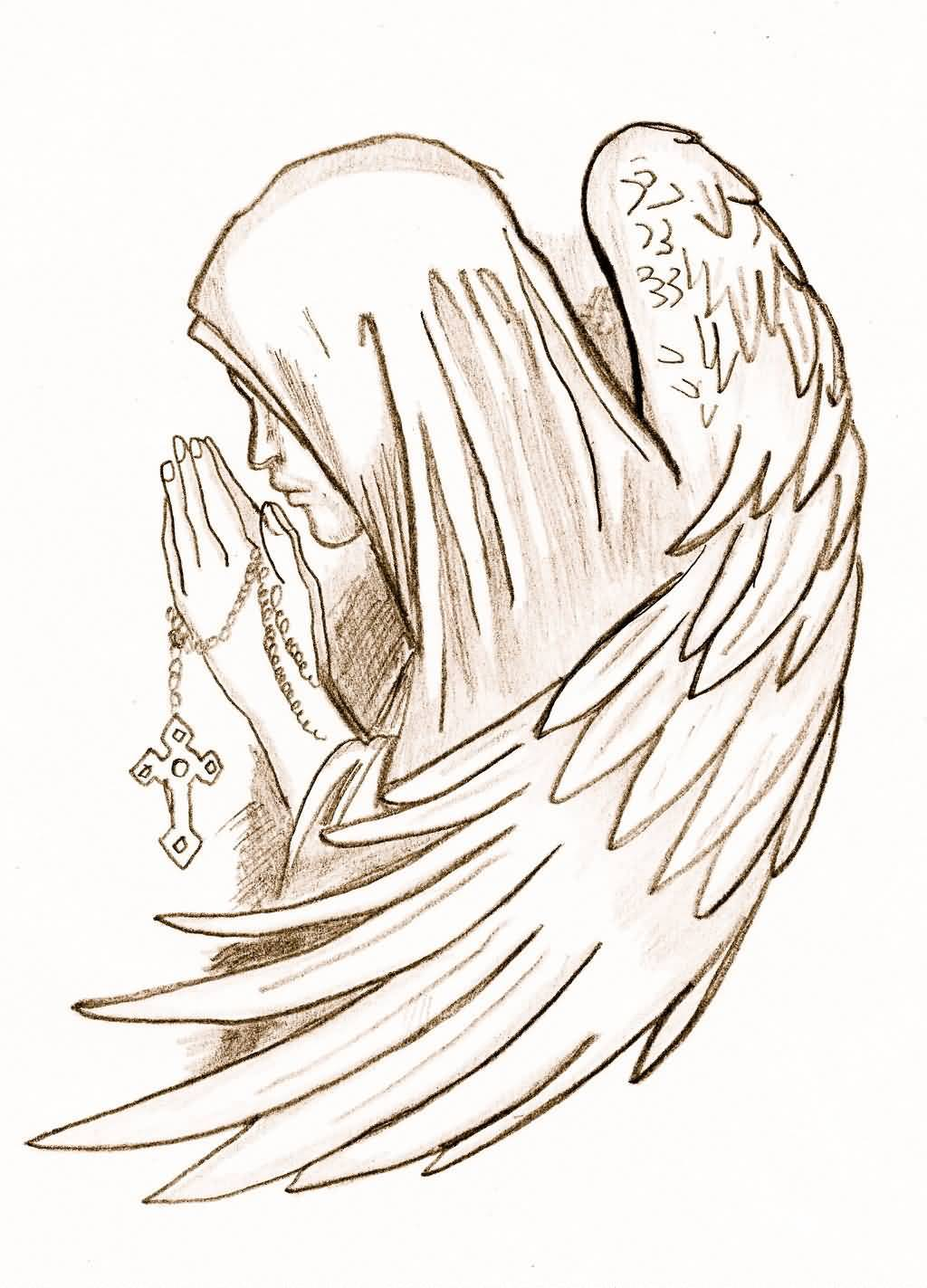 Close Hands Praying Angel Tattoo Drawing By Peaches