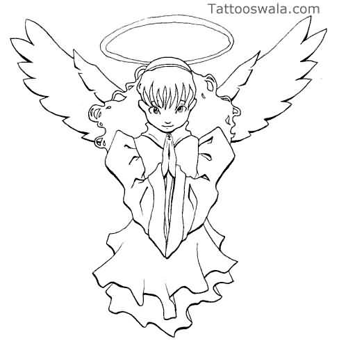 Close Hands Praying Fairy Angel Tattoo Design Stencil