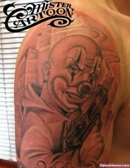 Clown Latino Gangsta Face Tattoo On Half Sleeve