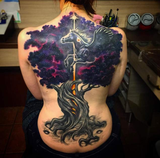 Colored Awesome Pegasus With Space Tree Tattoo Design For Full Back