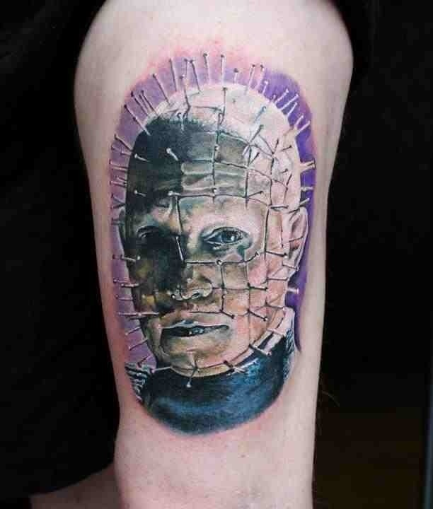 Colored Simple Pinhead Tattoo Design Idea