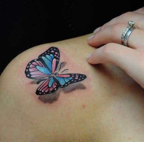 Colorful 3D Monarch Butterfly Tattoo On Shoulder