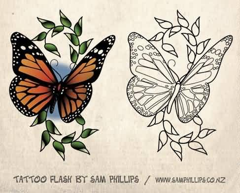 Colorful And Outline Ink Monarch Butterfly Stencil Tattoo Design