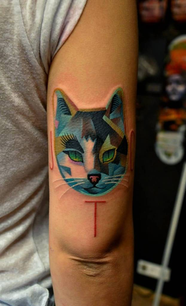 Colorful Angry Mood Mosaic Cat Tattoo Design