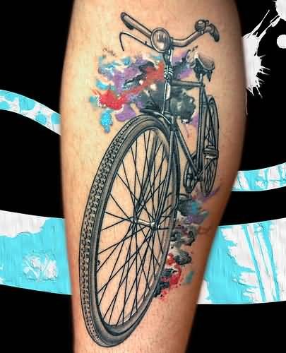 Colorful Awesome 3d Two Vehicle Bicycle Tattoo