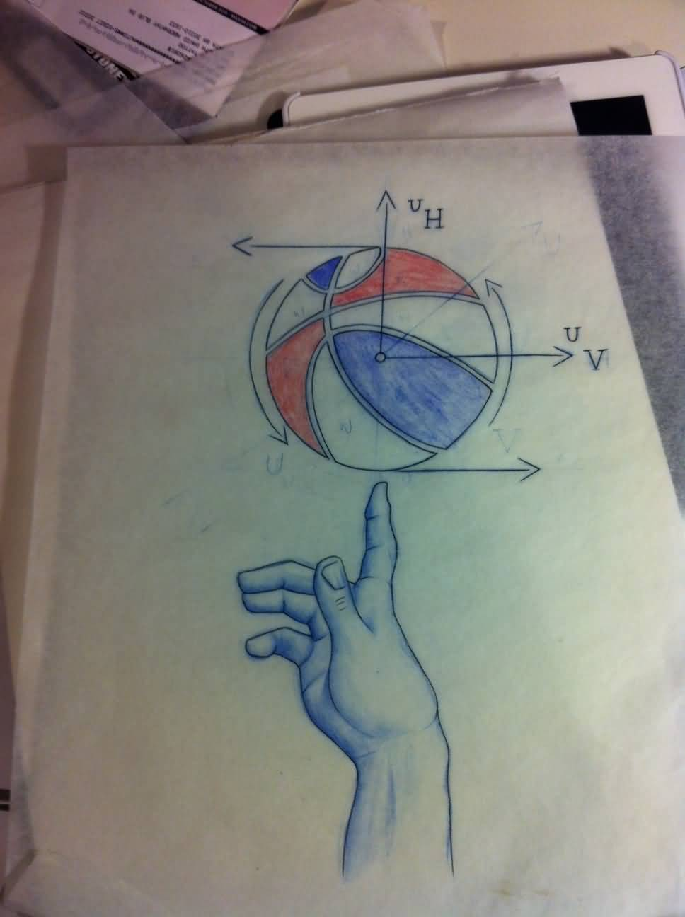 Colorful Basketball Physics Equation Tattoo Design With Cool Hand