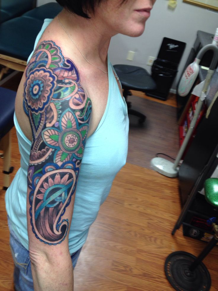 Colorful Flowers Nice Paisley Pattern Tattoo
