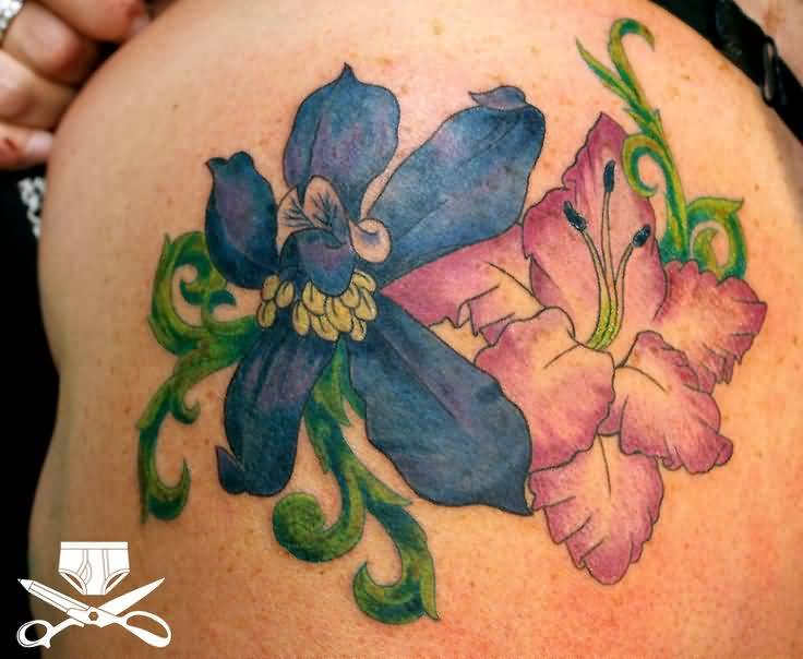Colorful Gladiolus Two Flower Tattoo For Hot Girl