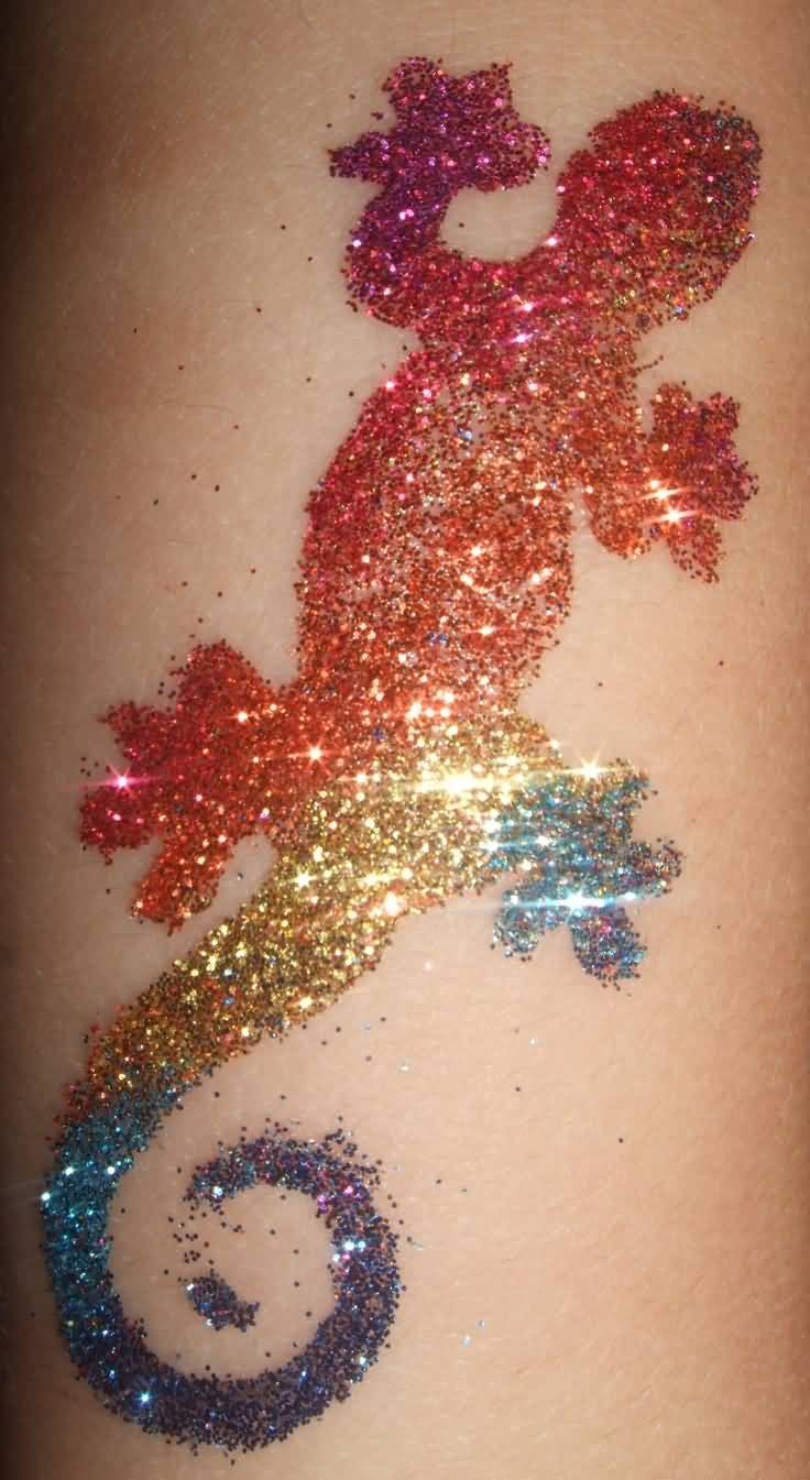 Colorful Glitter Salamander Tattoo Design