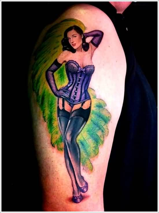 Colorful Hot Pin Up Girl Tattoo On Shoulder
