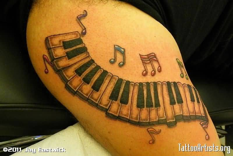 Colorful Music Notes With Nice Piano Keys Tattoo