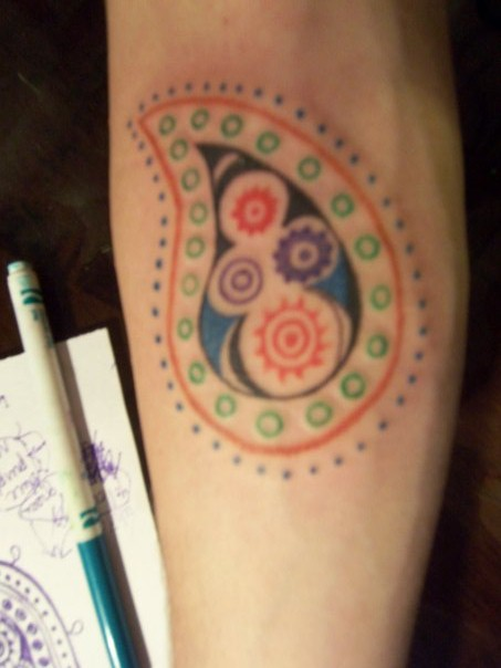 Colorful Nice And Amazing Paisley Pattern Tattoo