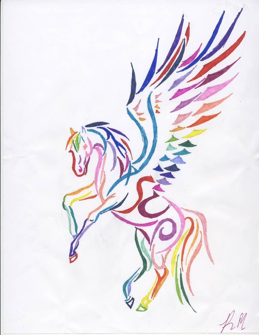 Colorful Nice And Amazing Pegasus Tattoo Design Stencil
