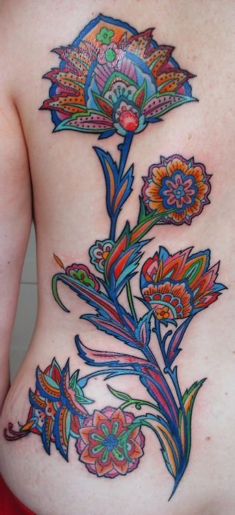 Colorful Nice And Simple Paisley Pattern Tattoo With Beautiful Flowers