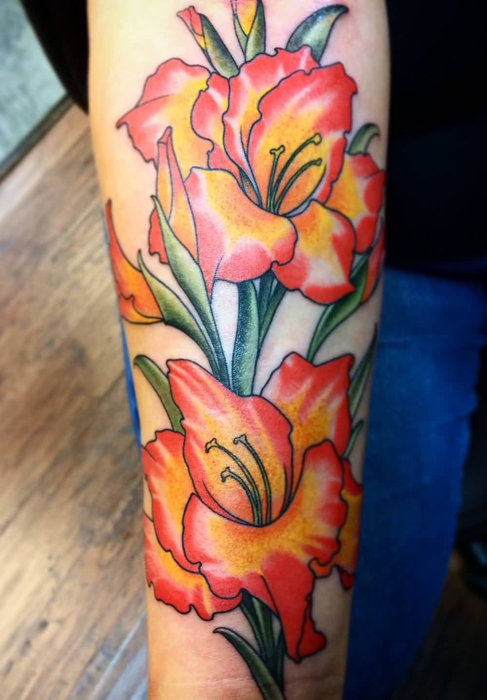 Colorful Nice Forearm Gladiolus Flower Tattoo