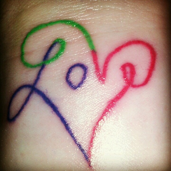 Colorful Nice Love Heart Tattoo