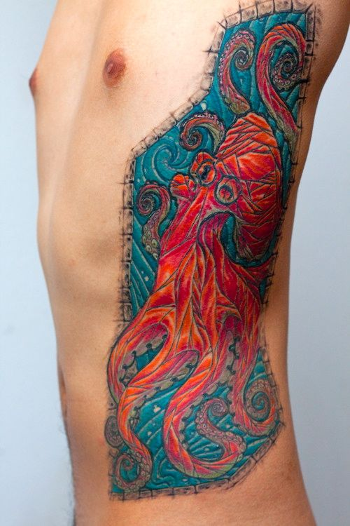 Colorful Nice Mosaic Oxctopus Tattoo On Men Rib Side