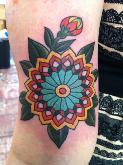 Colorful Nice One Flower Old School Tattoo