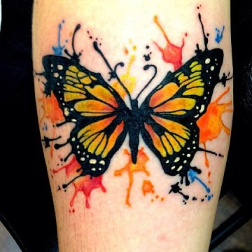 Colorful Nice One More Monarch Butterfly Tattoo