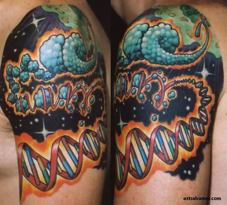 Colorful Nice Science DNA Science Tattoo On Quater Sleeve