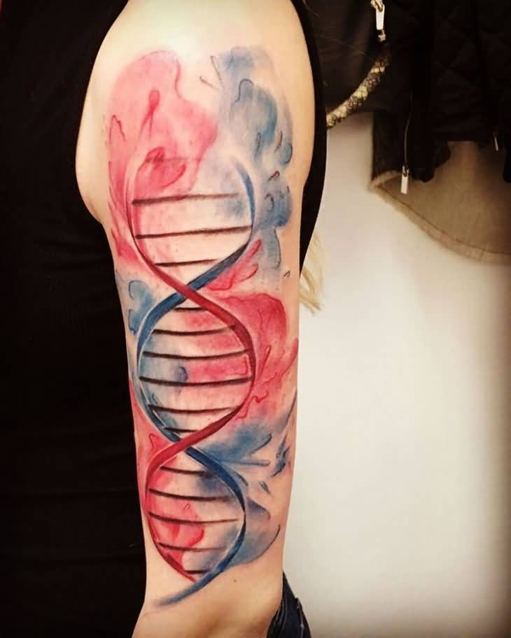 Colorful Nice Science DNA Upper Sleeve Tattoo