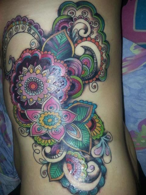 Colorful Paisley Pattern And Nice Flower Tattoo Design