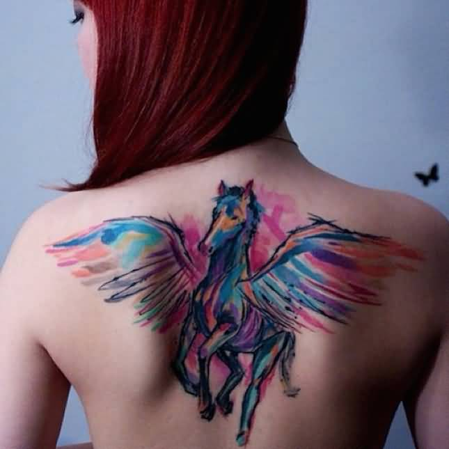 Colorful Pegasus Tattoo On Red Hair Girl Upper Back