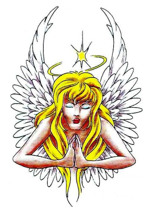Colorful Praying Angel Tattoo Design