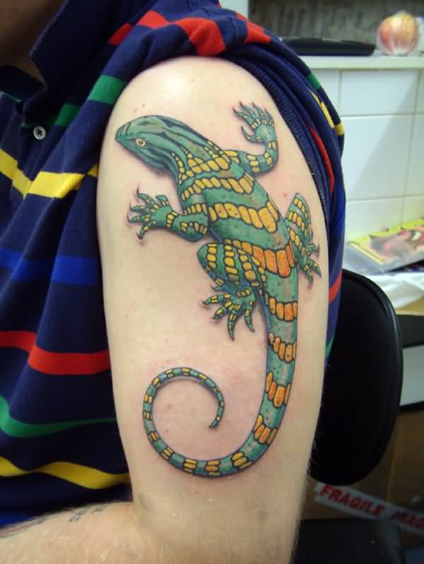 Colorful Reptile Lizard Tattoo On Upper Sleeve
