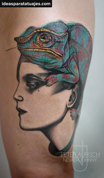 Colorful Reptile Tuatara Lizard Sit On Girl Head Tattoo