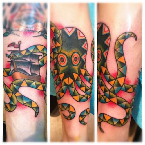 Colorful Simple Mosaic Nice Octopus Tattoo