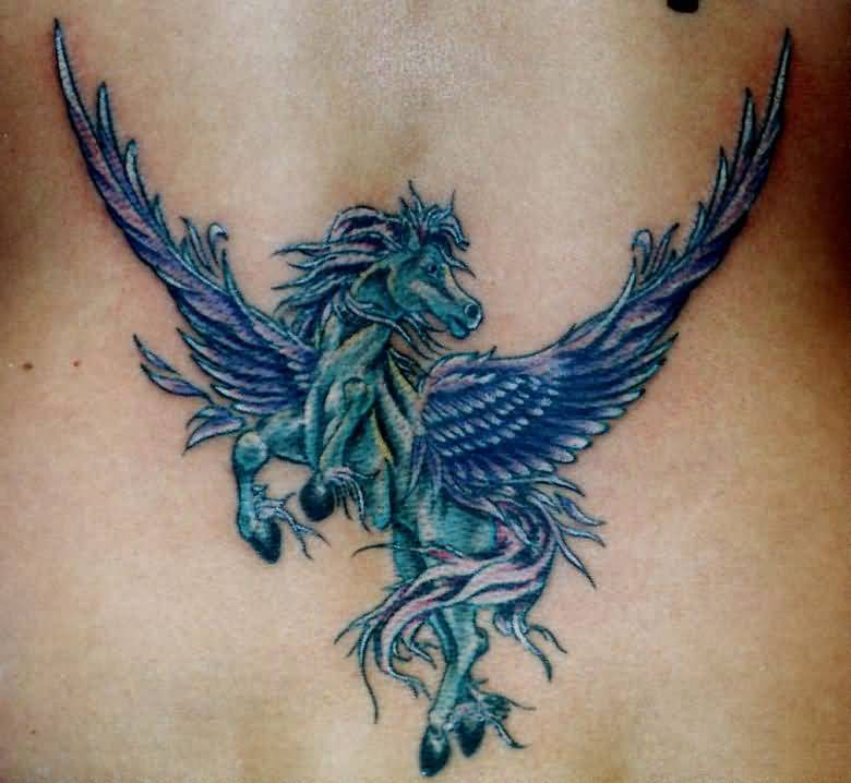 Colorful Simple Pegasus Tattoo Design Idea