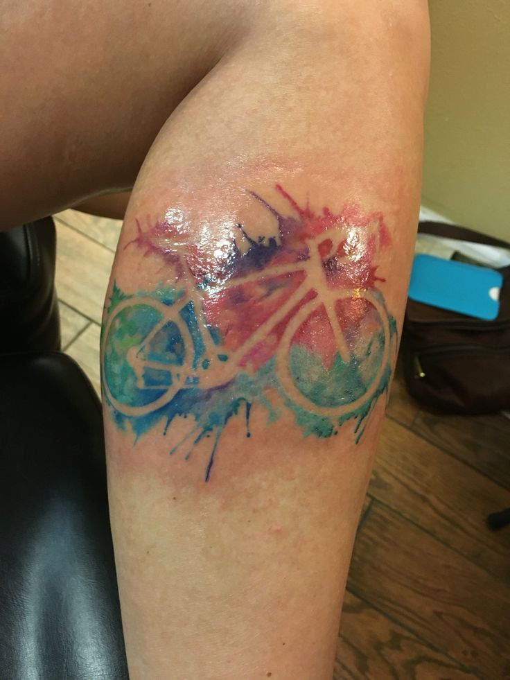 Colorful Small Bicycle Tattoo Design Idea Make On Leg